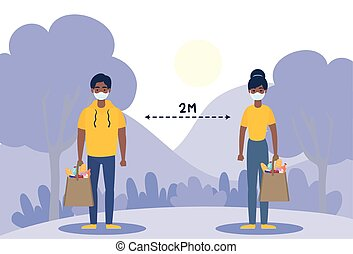 persons with social distancing for covid19 vector illustration design