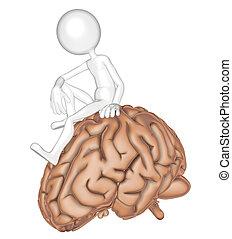 persoon, 3d, hersenen, zittende
