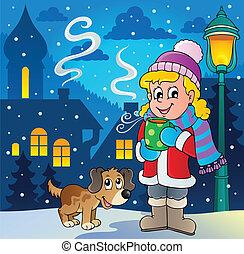 persoon, beeld, 2, winter, spotprent