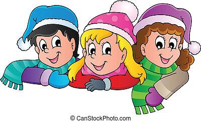 persoon, beeld, winter, spotprent, 4