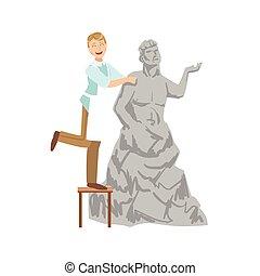 persoon, beeldhouwer, illustratie, creatief