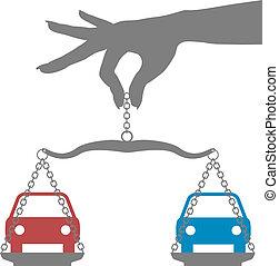 persoon, beslissing, kopen, keuze, auto's