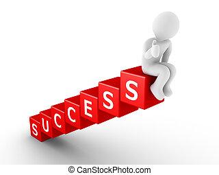persoon, bovenzijde, blokjes, succes, zittende