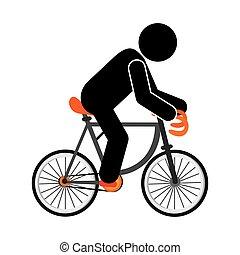 persoon, fiets helpend, pictogram