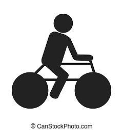 persoon, fiets, silhouette, paardrijden