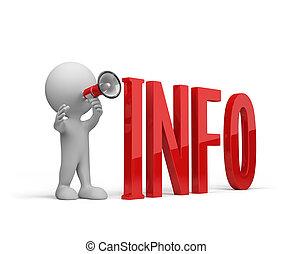 persoon, geeft, 3d, informatie
