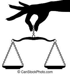 persoon, hand houdend, weeg schaal, evenwicht