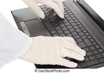 persoon, het typen, op, de, computer