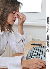 persoon, hoofdpijn, werken, zakelijk, moe