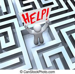 persoon, in, labyrint, doolhof, vasthouden, hulpteken