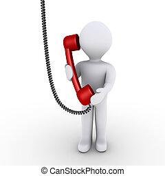 persoon, is, praten aan de telefoon