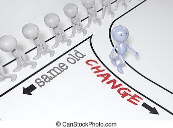 persoon, keuze, veranderen, gaan, nieuw, steegjes
