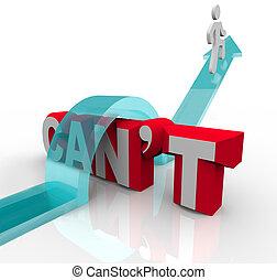 persoon, klimmen over, woord, can't, om te, bereiken, doel,...