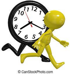 persoon, klok, haast, hardloop, uitvoeren, werkende, dag...