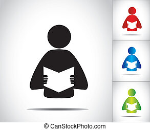 persoon, lezende , mannelijke , boek, open