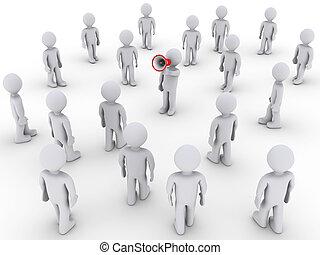 persoon, megafoon, anderen, toevoegen, roepende