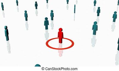 persoon, omringde, rood, anderen