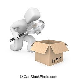 persoon, onderzoekt, pakket