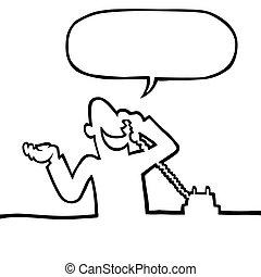 persoon, roepende, telefoon