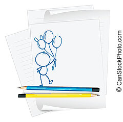persoon, schets, papier, ballons, vasthouden