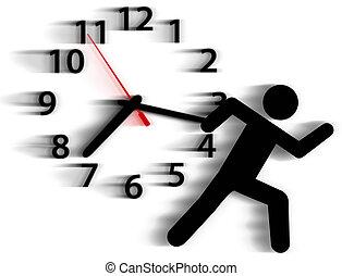 persoon, symbool, uitvoeren, tijd, hardloop, tegen, klok