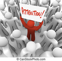 persoon, vasthouden, aandacht, meldingsbord, in, menigte, om...