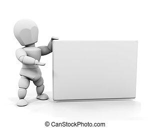 persoon, vasthouden, meldingsbord