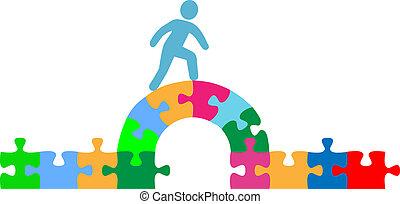 persoon, wandelende, op, raadsel, brug, oplossing