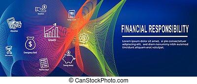 persoonlijk, -, financiën, spandoek, verantwoordelijkheidsgevoel, &, set, web, pictogram, header