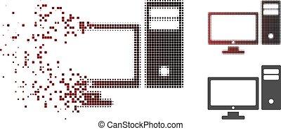 persoonlijk, halftone, computer, pixelated, dispersed, pictogram