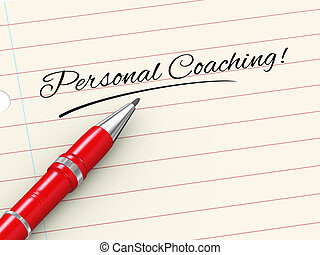 persoonlijk, -, pen, coachend, papier, 3d