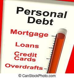 persoonlijk, schuld, meter, het tonen, hypotheek, en,...