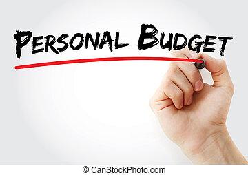 persoonlijk, teken, hand, begroting, schrijvende