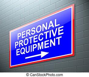 persoonlijk, uitrusting, concept., beschermend