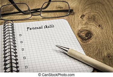 persoonlijk, vaardigheden, lijst