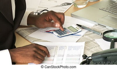 persoonlijk, zakenman, rekening, zijn, het herzien