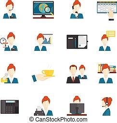 persoonlijke assistent, plat, iconen