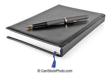 persoonlijke organisator, pen, inkt