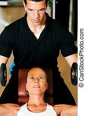 persoonlijke trainer, in, gym