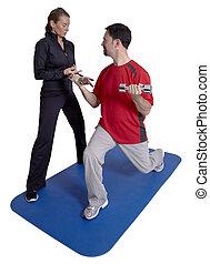 persoonlijke trainer, met, klant