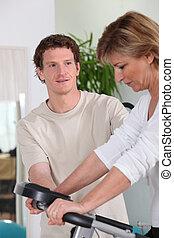 persoonlijke trainer, met, zijn, klant