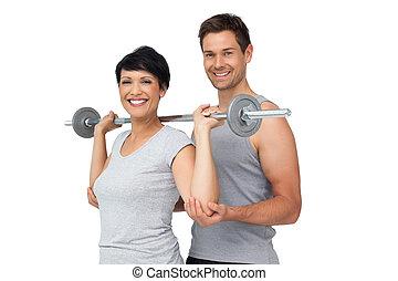 persoonlijke trainer, portie, vrouw, met, gewichtsheffen,...