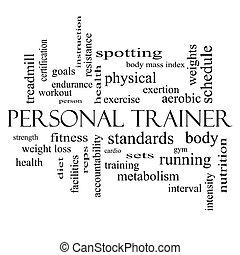 persoonlijke trainer, woord, wolk, concept, in, zwart wit