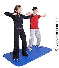persoonlijke trainer, workout, met, klant