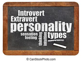 persoonlijkheid, types, op, bord