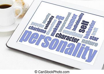 persoonlijkheid, woord, wolk, op, tablet