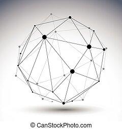 perspec, verformt, abstrakt, figur, gitter, vektor, schwarz...