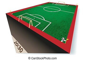 Perspectic View of a Soccer Field - Football Field - Vector Illustration