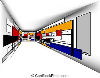 perspectief, kleurrijke, kamer