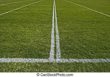perspectief, van, een, gespeel veld, met, geverfde, witte lijnen